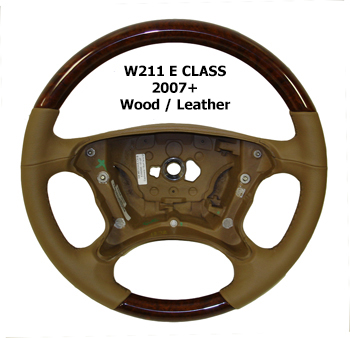 W211 E Class 07+ Steering Wheel Wood Leather