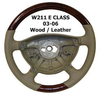 W211 E Class 03-06 Steering Wheel Wood Leather