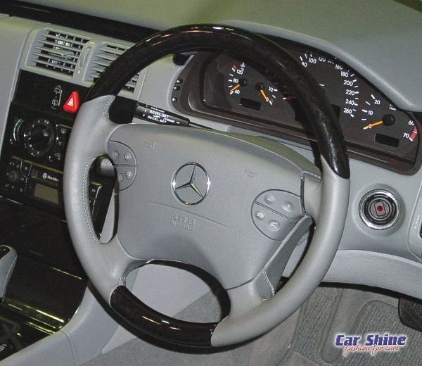 Gray Leather Wood Steering Wheel Cover Mercedes Benz 95-99 W210 E W202 C202 C