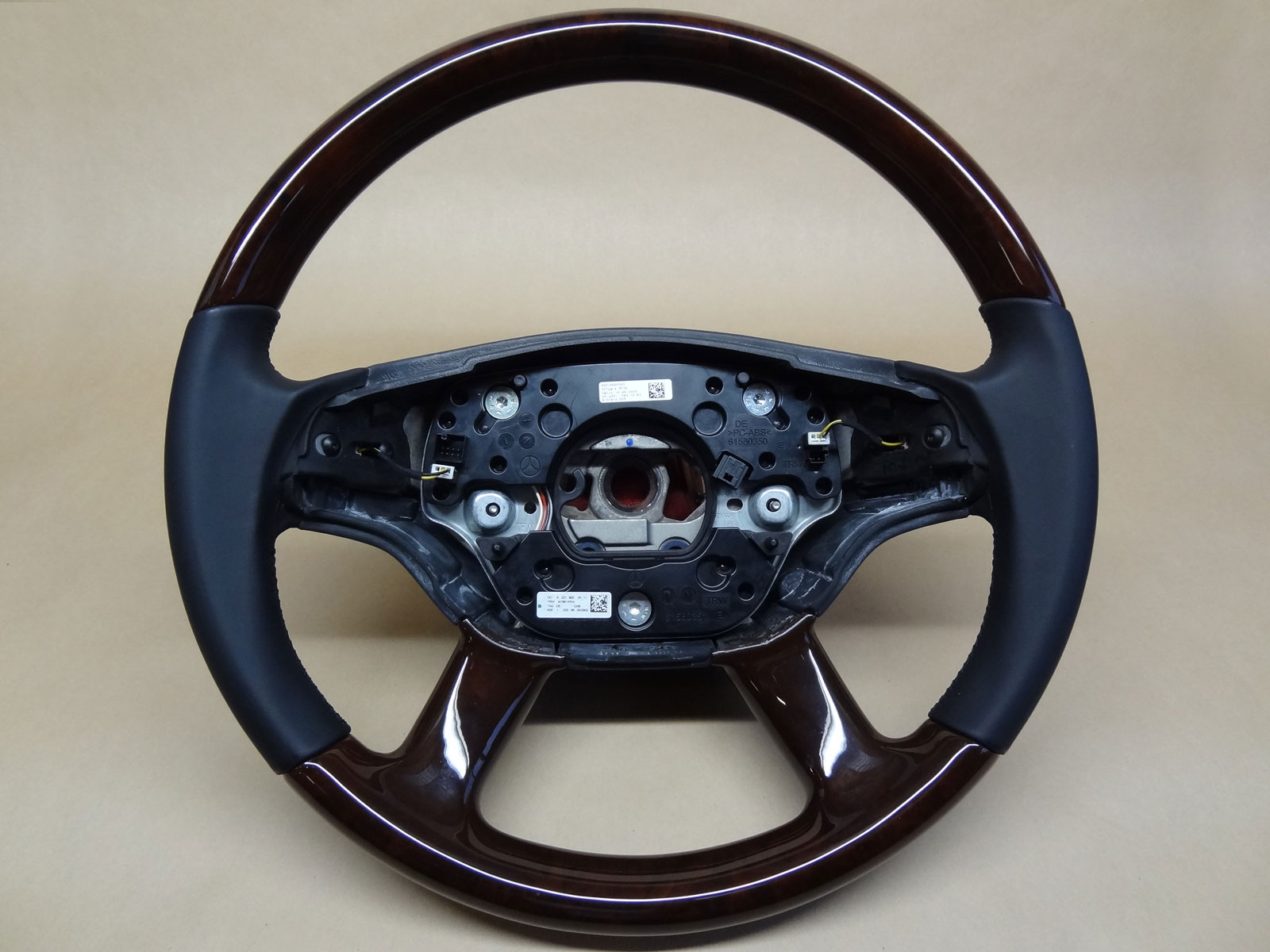 Mercedes W221l W216 Wood Leather Steering Wheel Walnut On Black Original Factory Wheel